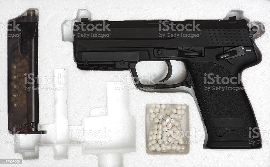 air soft gun box stock photo