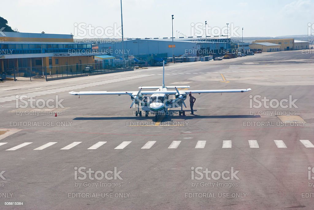 Air Taxi getting checked for the next departure stock photo