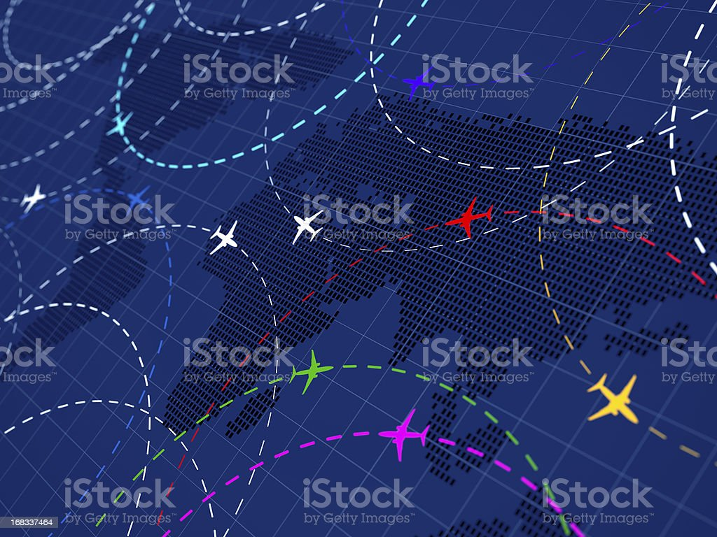 Air traffic colored royalty-free stock photo
