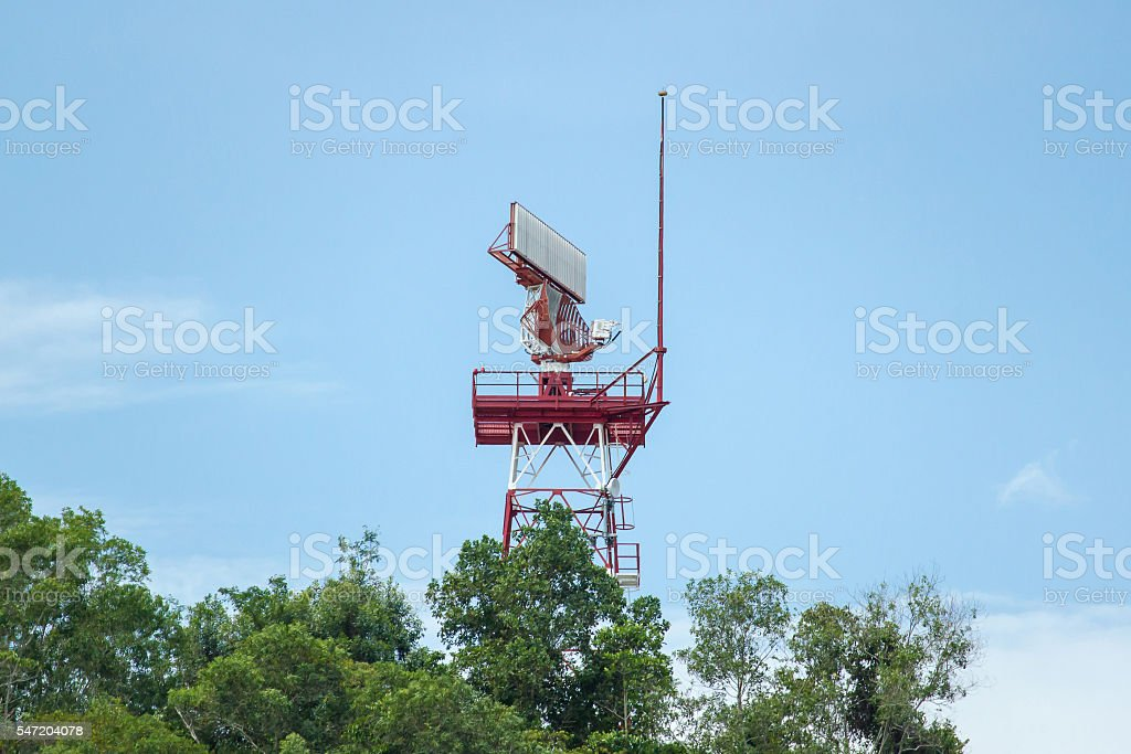 Air traffic control tower and airport radar stock photo