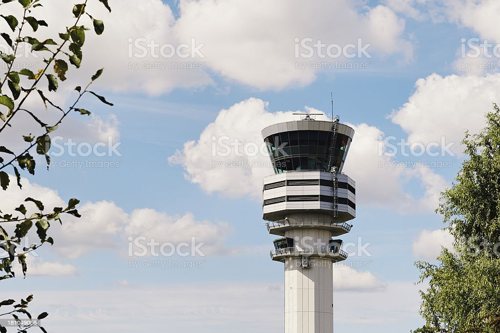 Air traffic control tower at Brussels Airport, Belgium stock photo