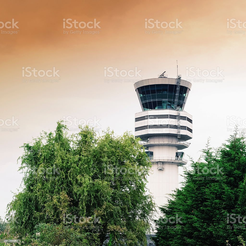 Air traffic control tower at Brussels Airport in Belgium stock photo