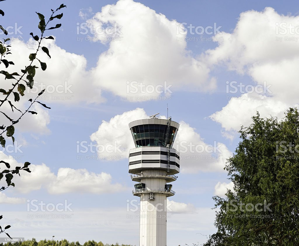 Air traffic control tower at Brussels Airport,Belgium stock photo