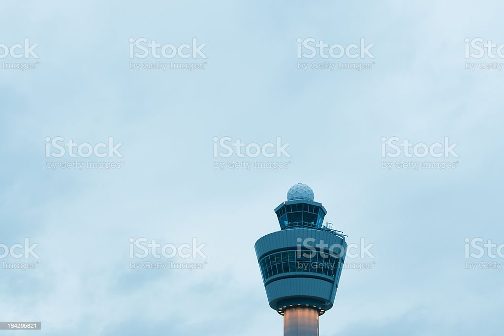 Air traffic control tower at dusk stock photo