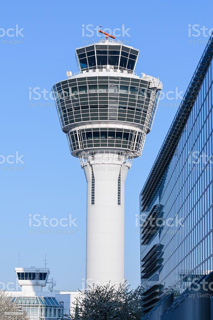 Air traffic control tower in Munich international passenger hub stock photo