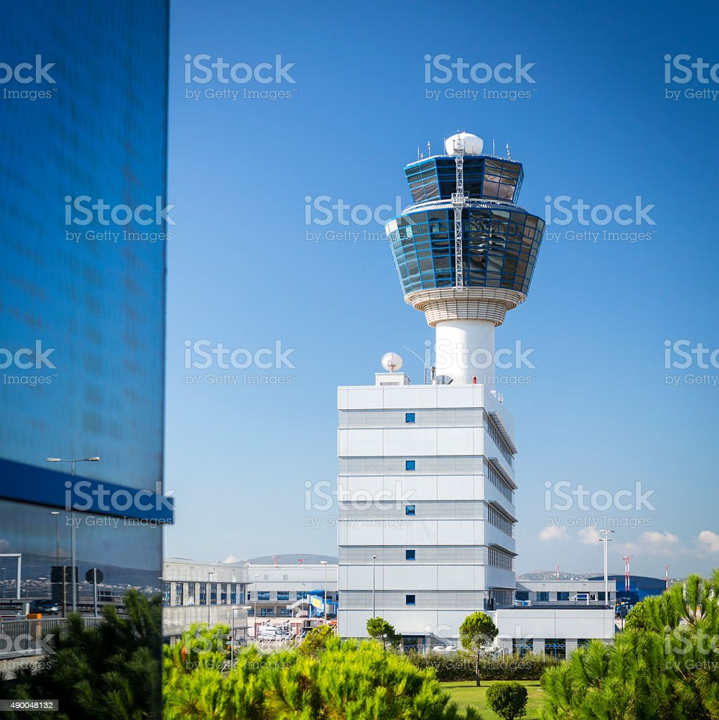 Air traffic control tower of Athens airport in Greece stock photo