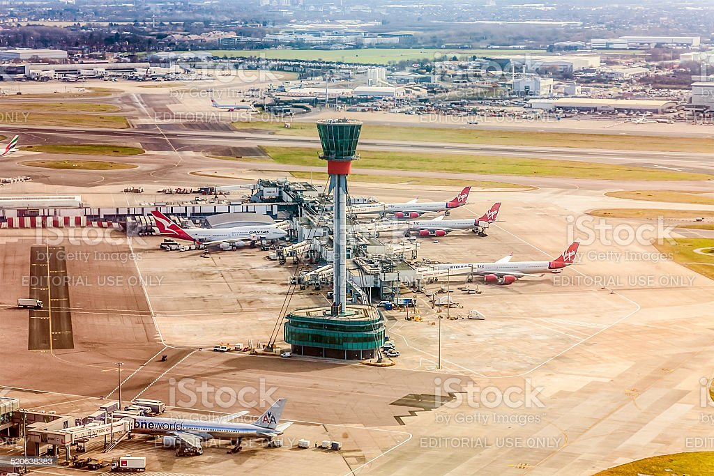 Air Traffic Control Tower / Visual Control Room, Heathrow Airport, London stock photo