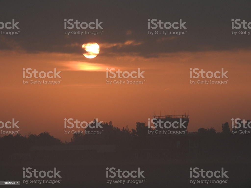 Air Traffic Foggy Sunrise stock photo