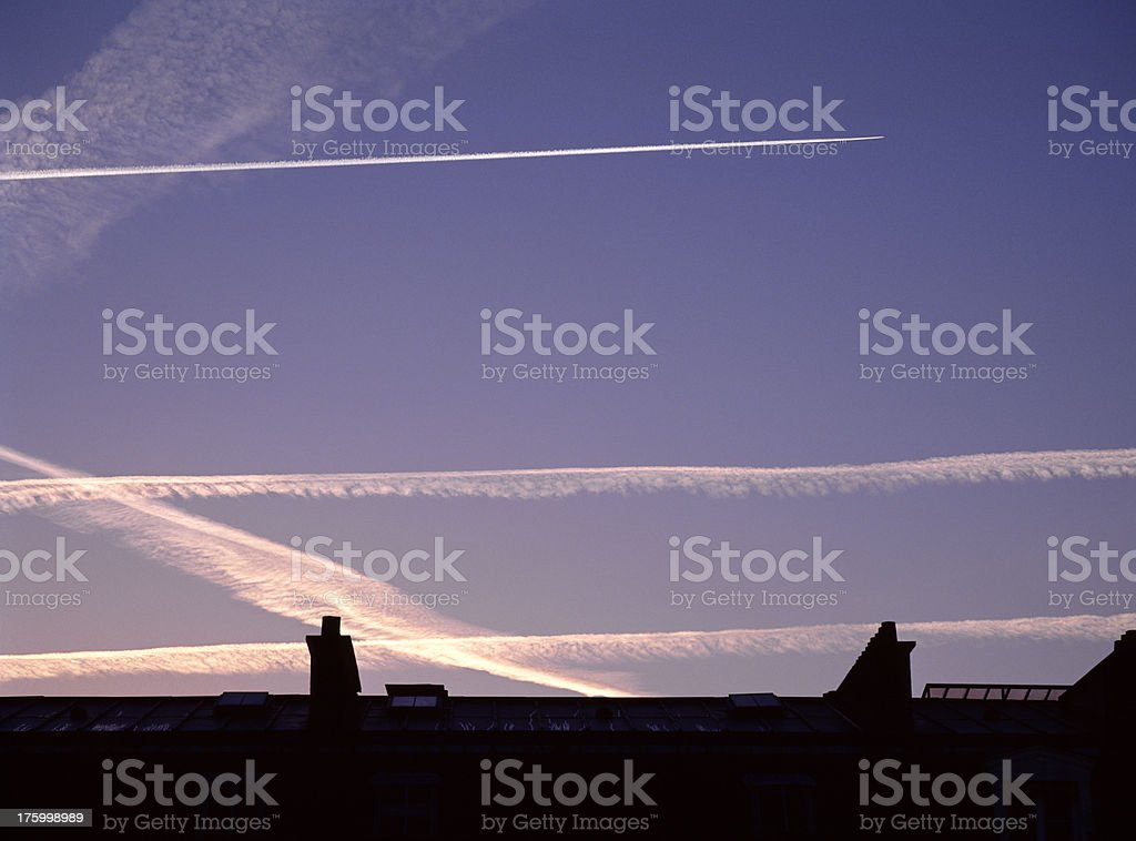 Air traffic over Paris. royalty-free stock photo
