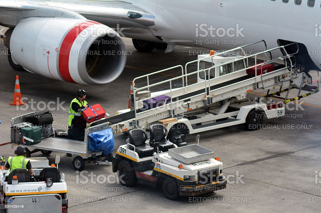 Air transport luggage stock photo