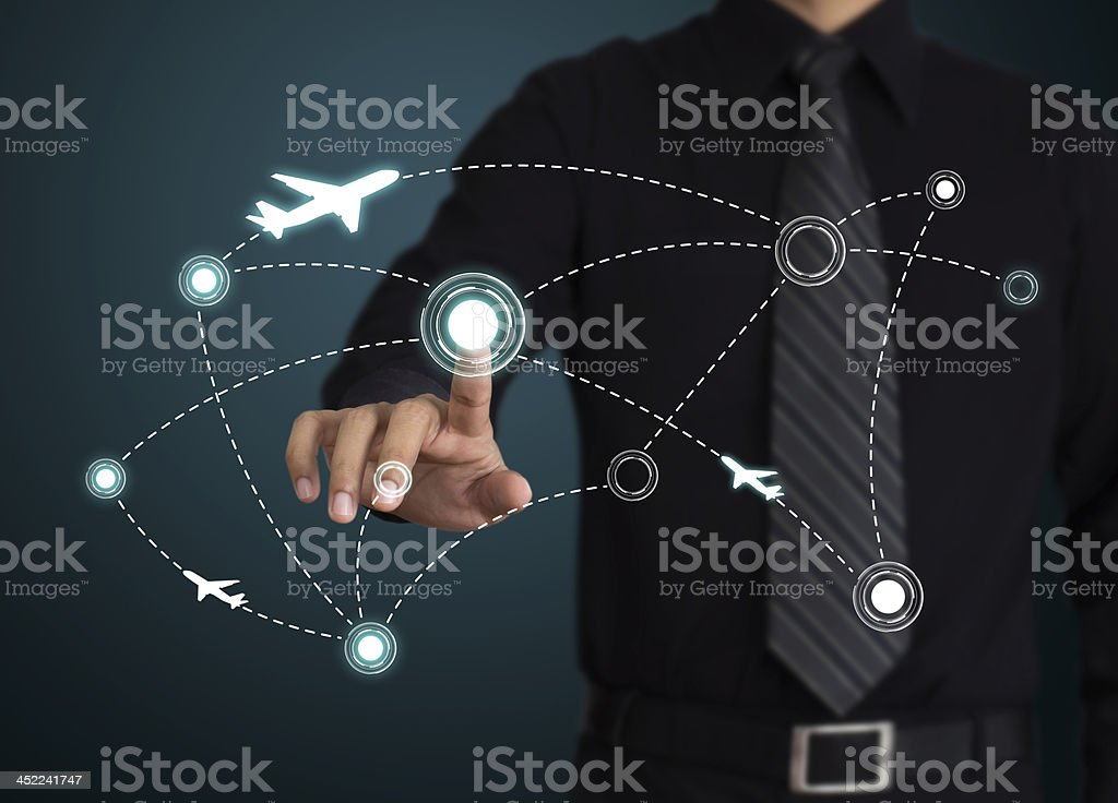 Air travel. Airplanes on their destination routes stock photo
