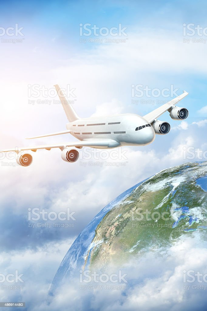 Air travel concept. Getting away from it all. stock photo