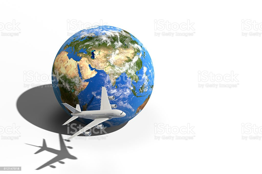 Air travel concept isolated on white background stock photo