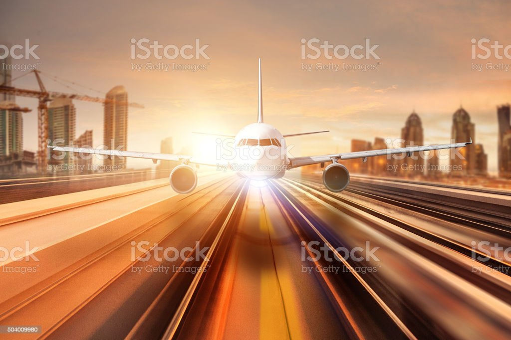 Air travel international flight landing stock photo