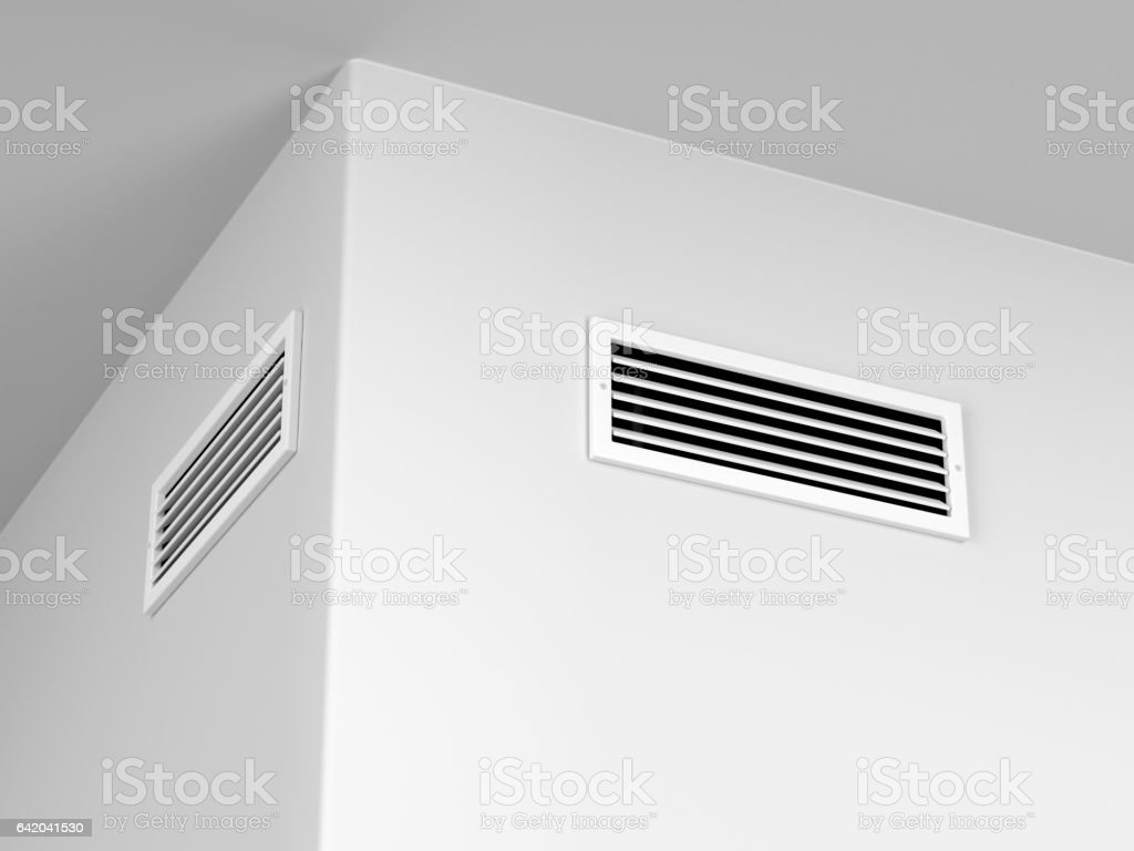 Air vents on the wall stock photo