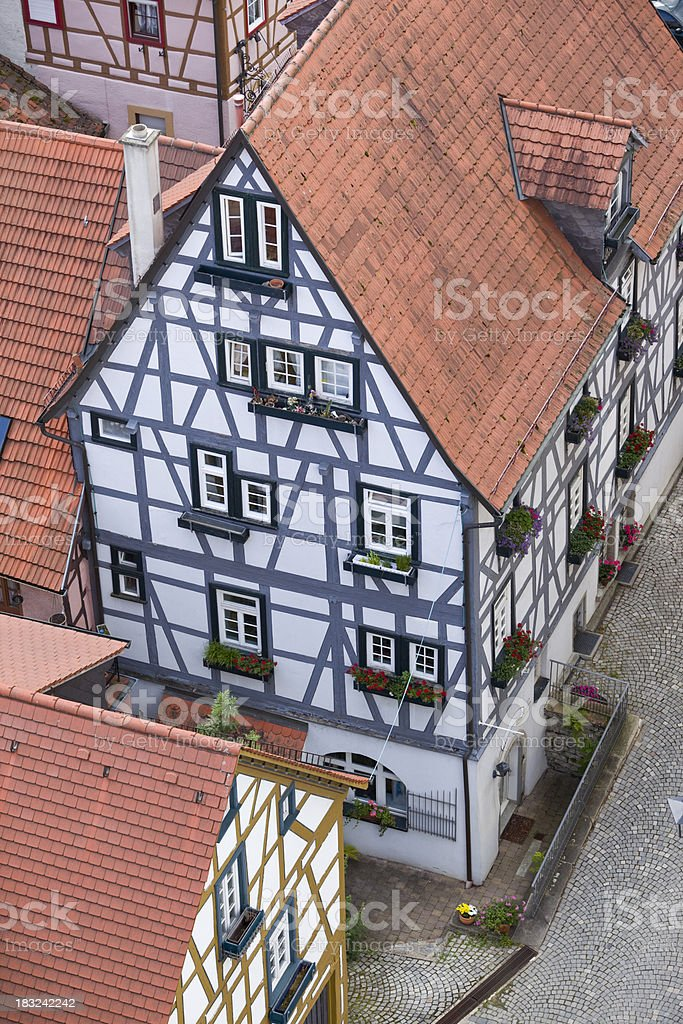 Air view of half-timbered house in Bad Wimpfen Germany stock photo
