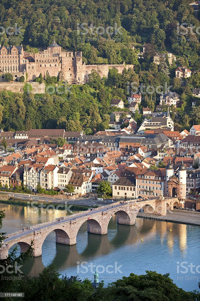 Air view of Old Bridge and castle in Heidelberg Germany stock photo