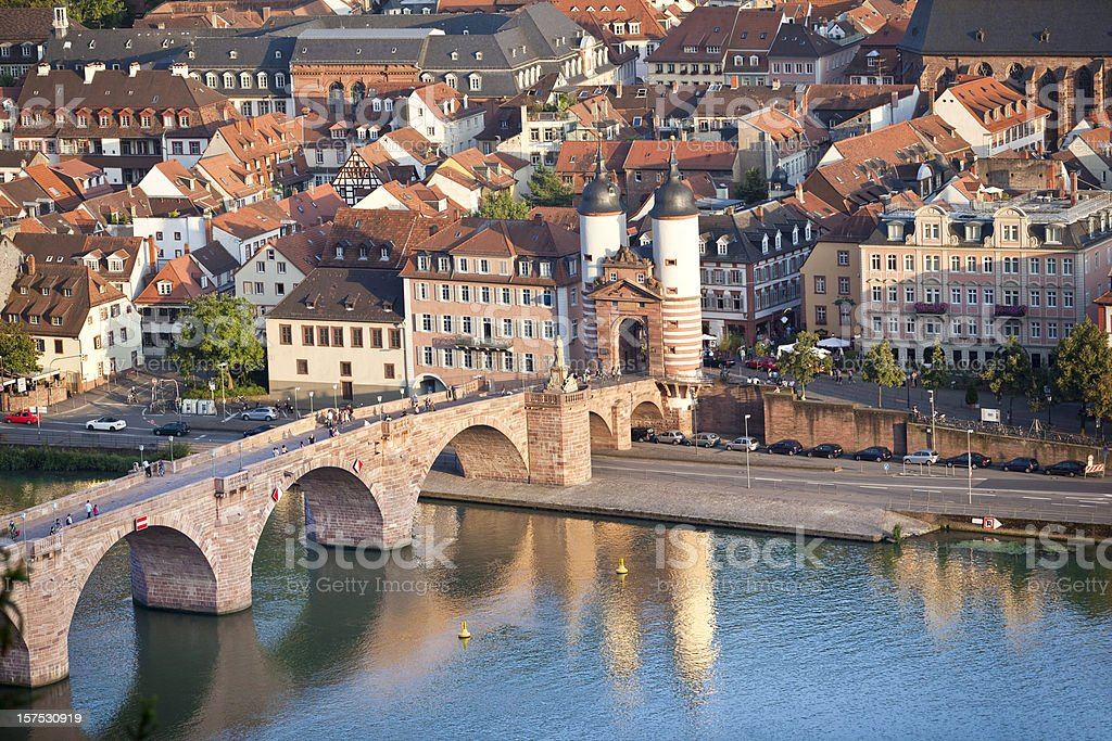Air view of Old Bridge in Heidelberg Germany stock photo