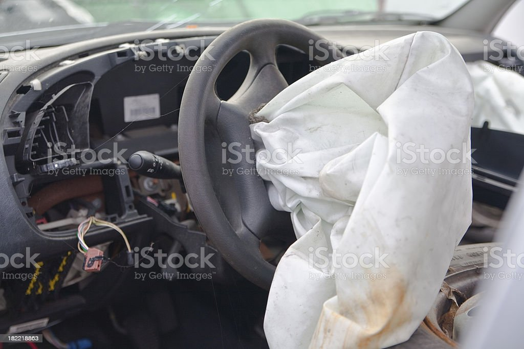 Airbag after an accident stock photo
