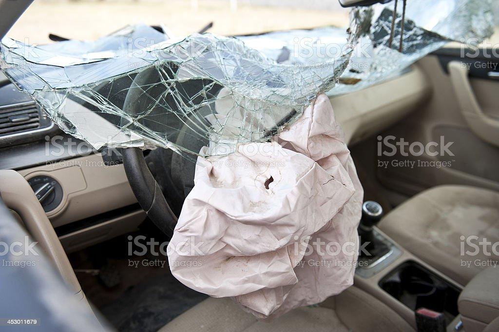 Airbag in car crash stock photo
