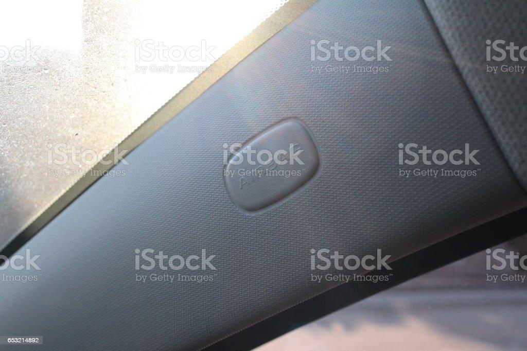 Airbag mark next to windshield window of sunlight stock photo