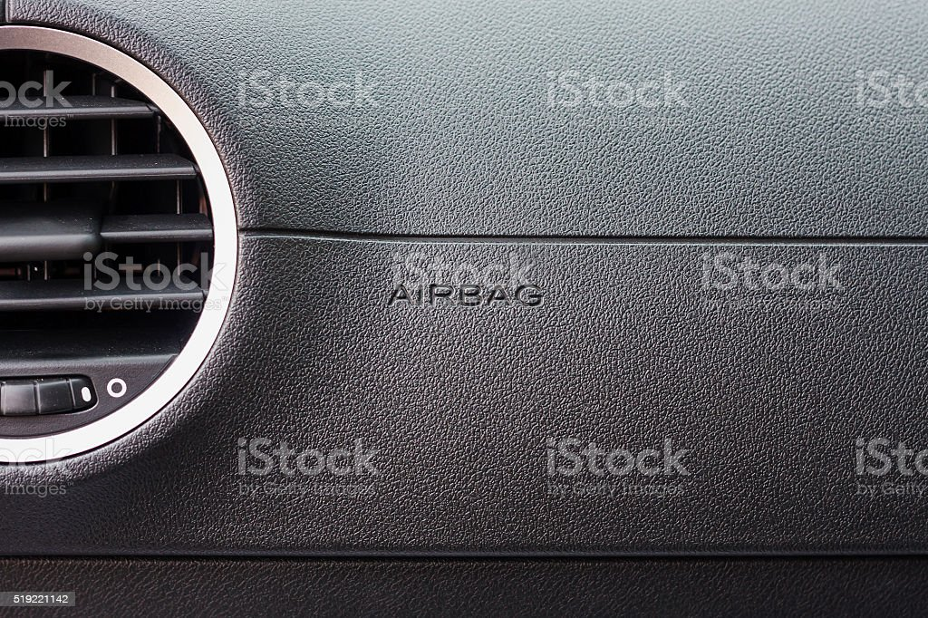airbag sign in the car stock photo