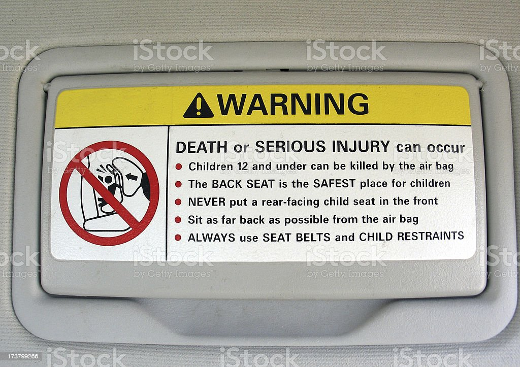 Airbag Visor Warning stock photo