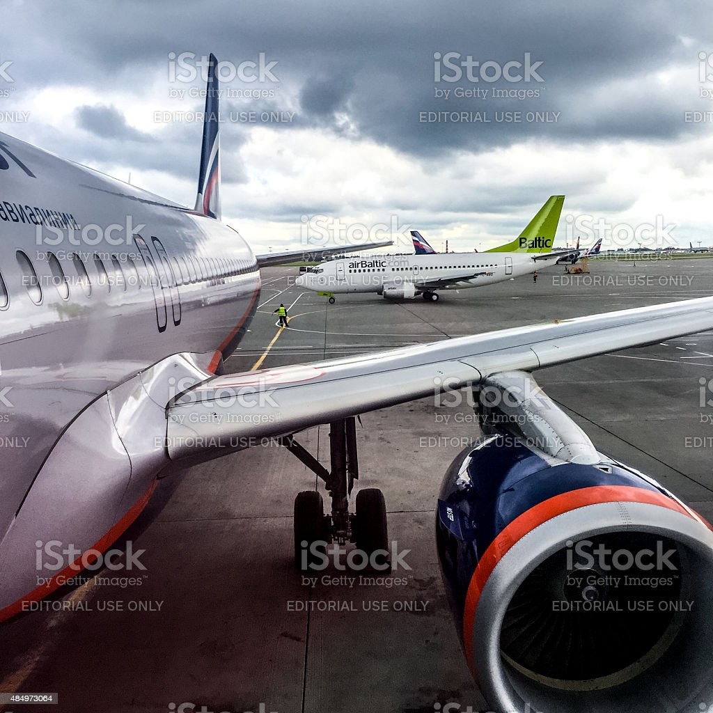 AirBaltic and Aeroflot Airplanes in Sheremetyevo Airport stock photo