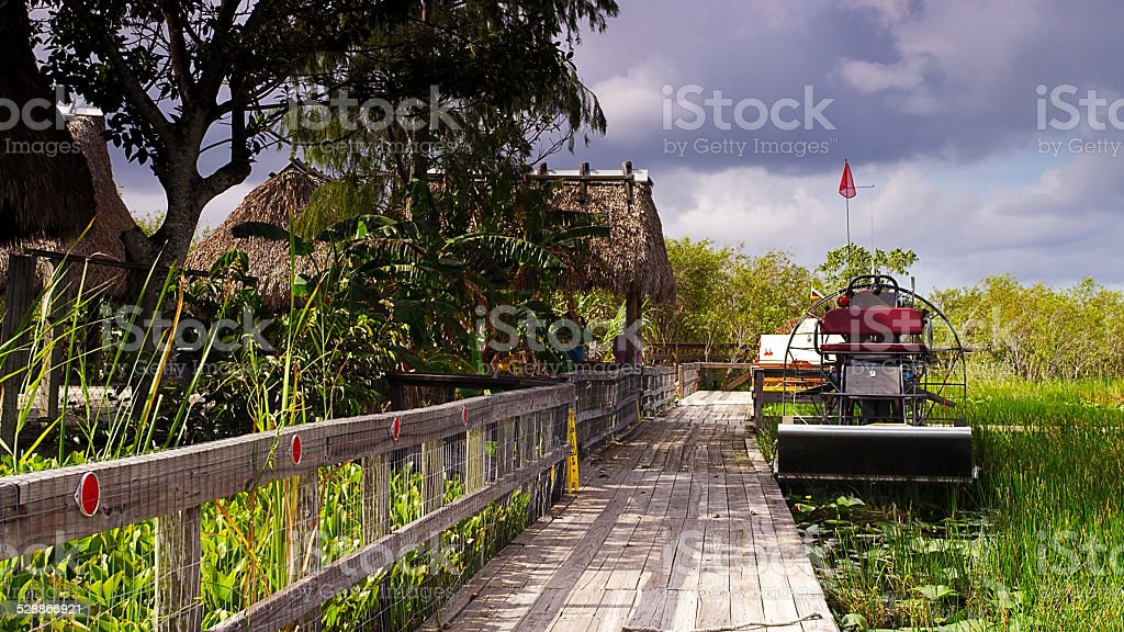 Airboat at Jetty in Swamp and Wetlands in Southern Florida stock photo
