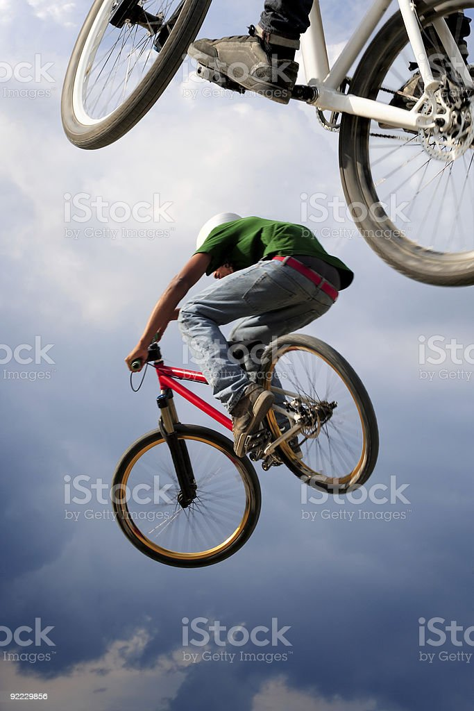 Airborne bikes royalty-free stock photo