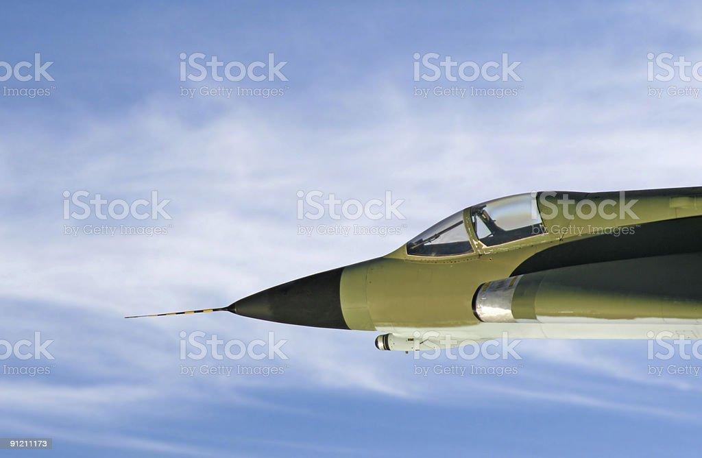 Airborne jet fighter stock photo