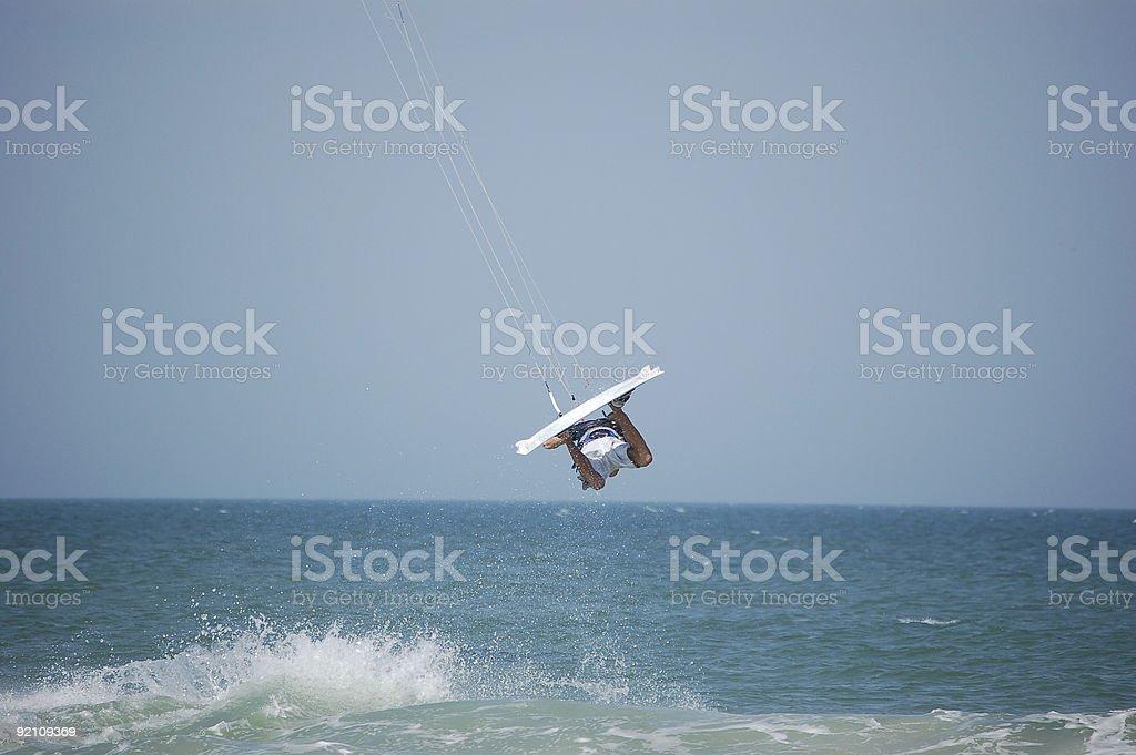 Airborne Kitesurfer royalty-free stock photo