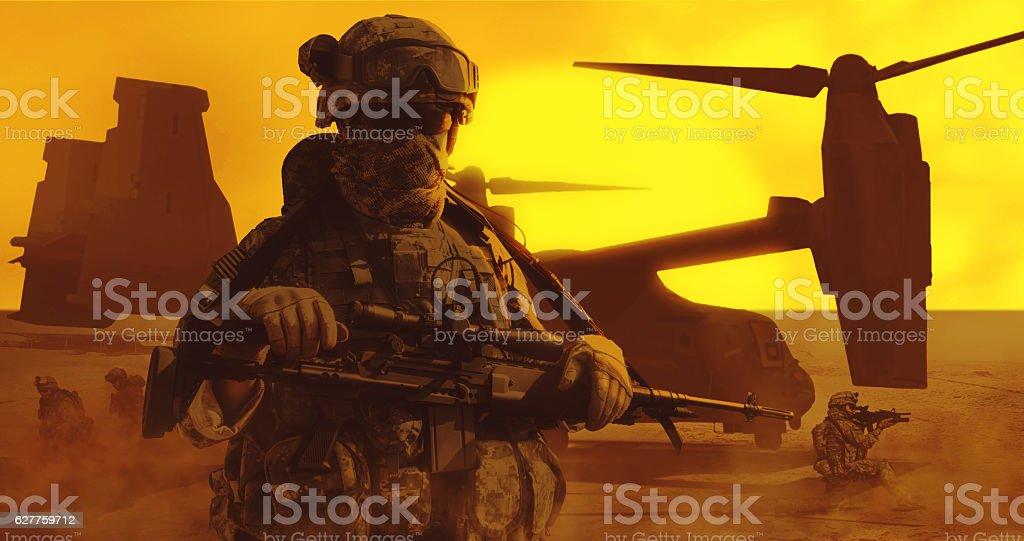 Airborne troopers desert stock photo