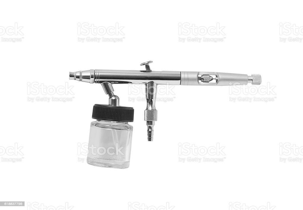 airbrush gun on white background stock photo