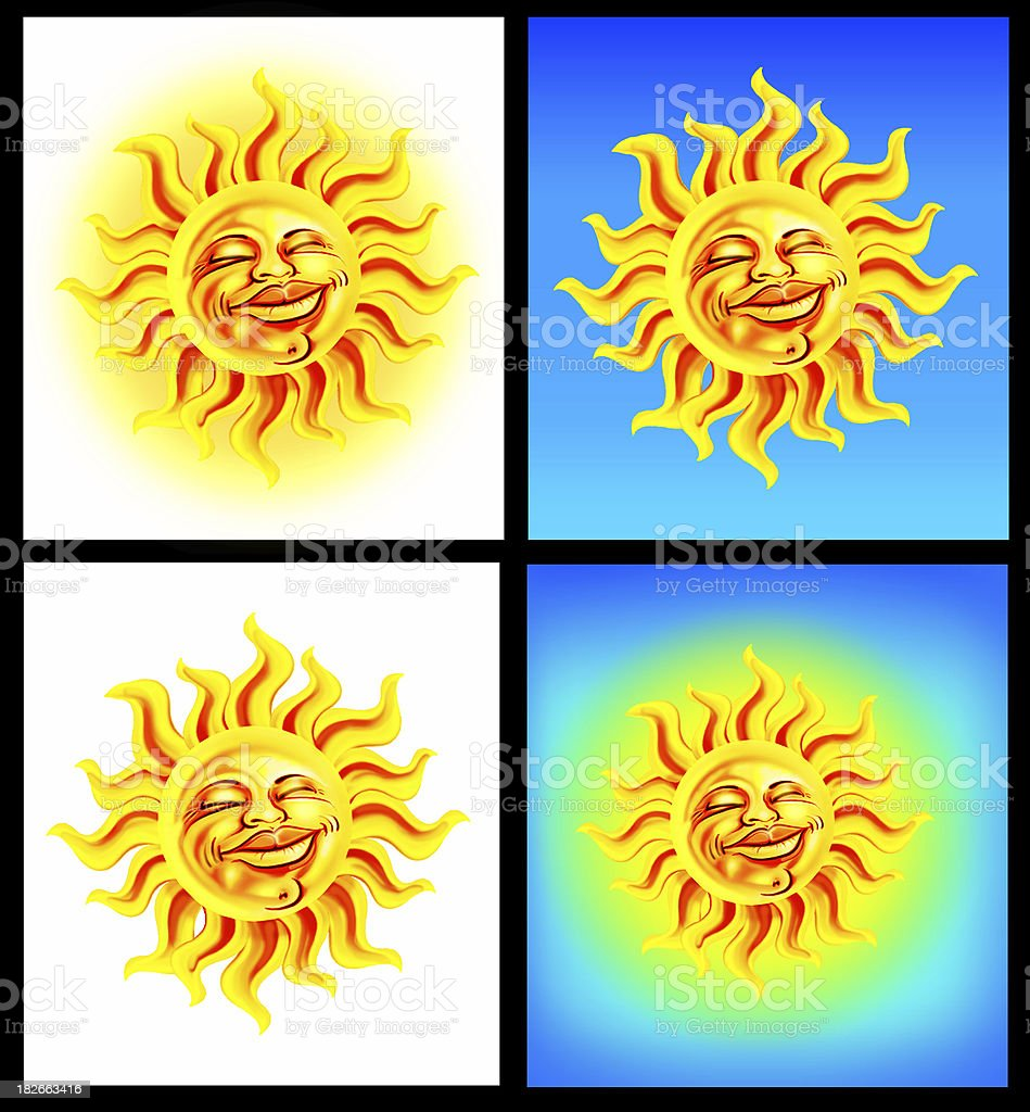 Airbrushed Sun on 4 backgrounds royalty-free stock photo