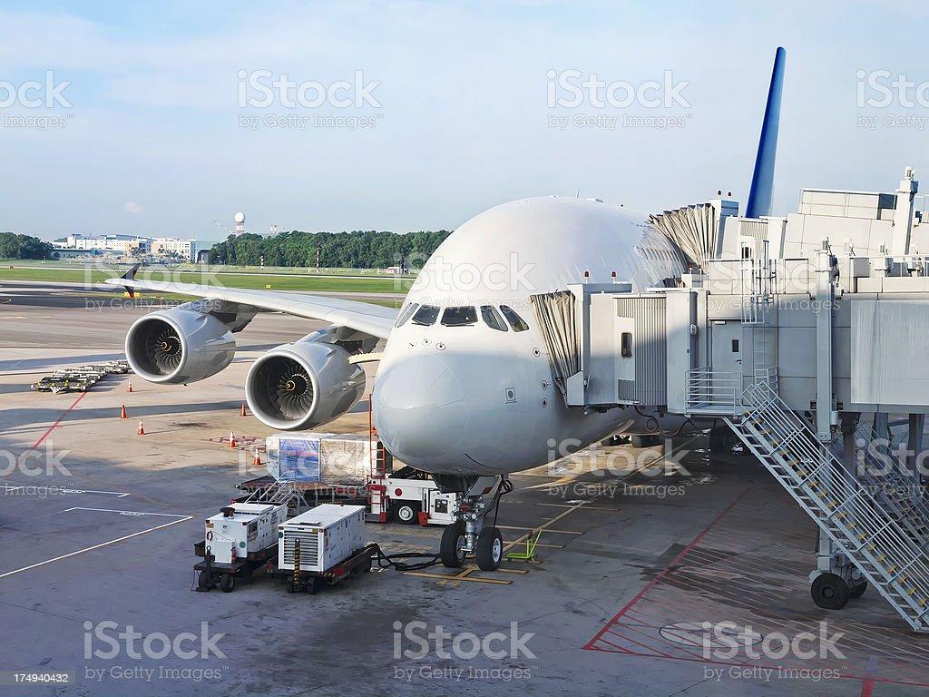 Airbus 380 at Aerobridge stock photo