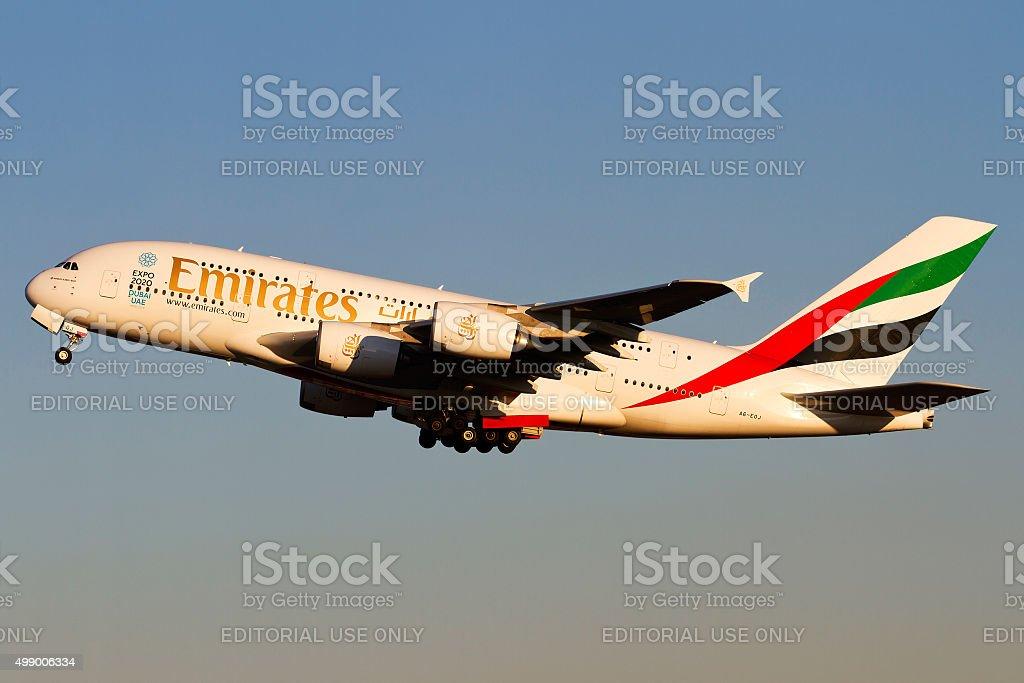 Airbus 380-800 Emirates Airlines stock photo