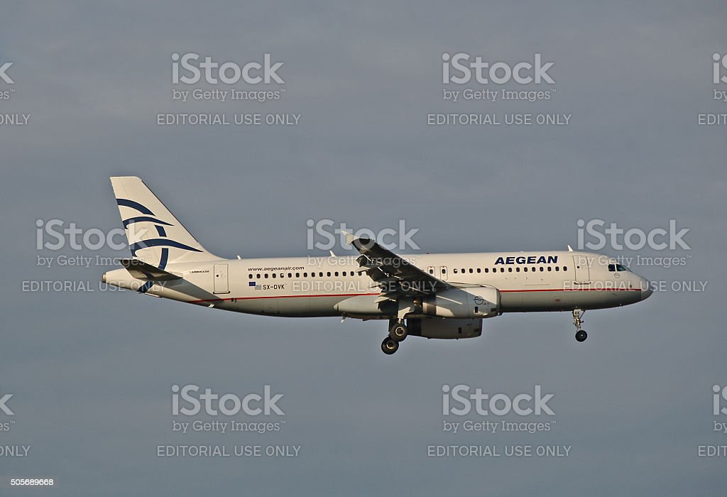 Airbus A 320-200 of Aegean Airlines stock photo