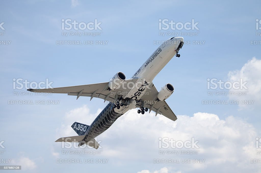 Airbus A 350 - 900 plane flight on airport stock photo