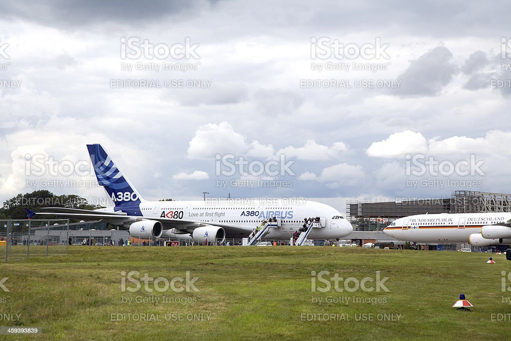 Airbus A 380 nearby aircraft from Federal Chancellor of Germany stock photo