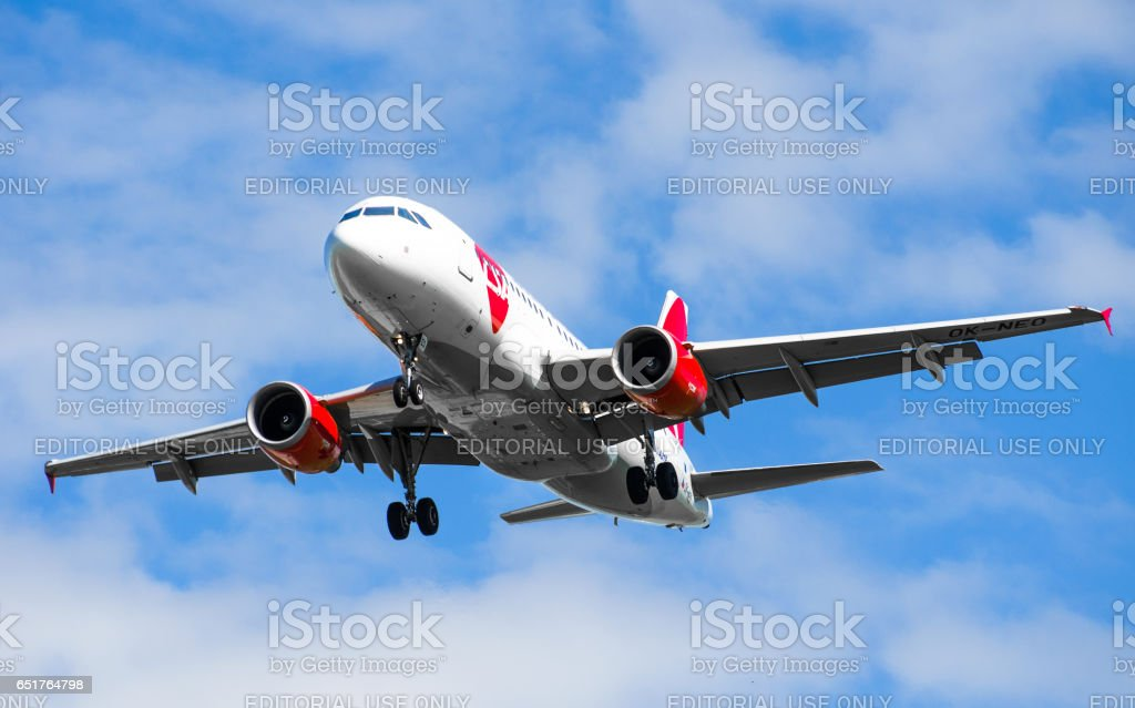 Airbus a319 Chech CSA airlines, airport Pulkovo, Russia Saint-Petersburg July 2015 stock photo