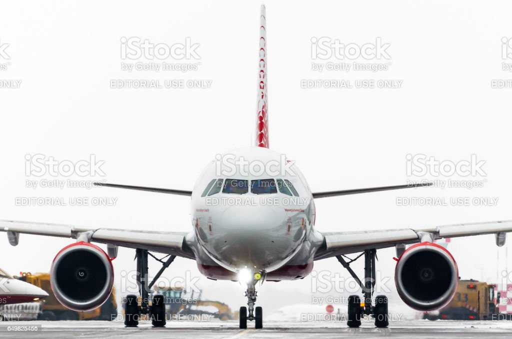 Airbus a319 Rossiya airlines, airport Pulkovo, Russia Saint-Petersburg January 2017 stock photo