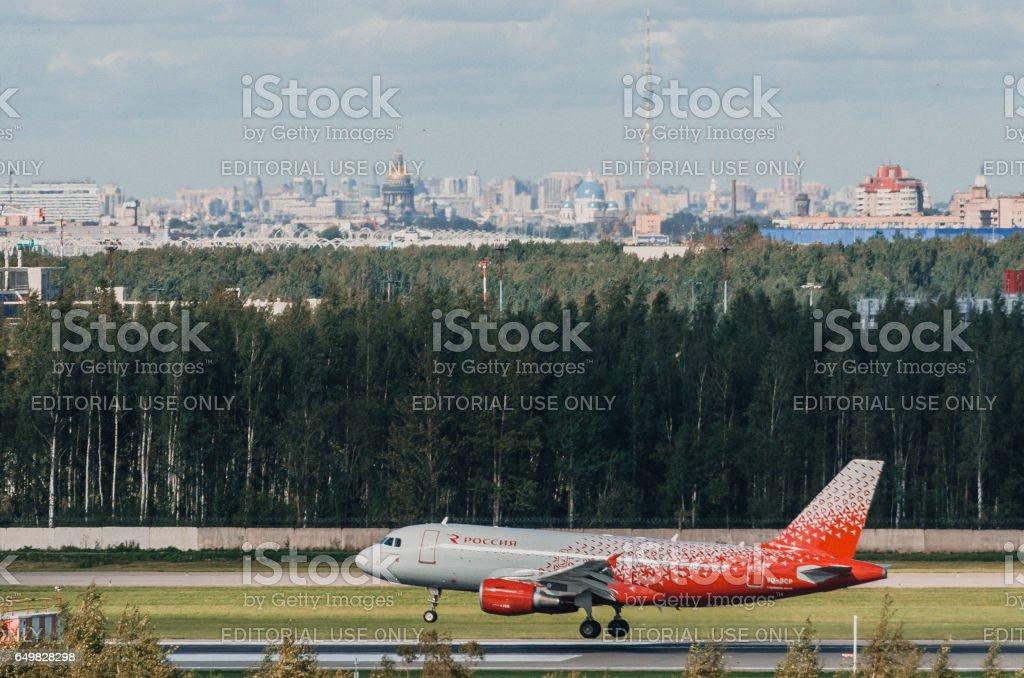 Airbus a319 Rossiya airlines, airport Pulkovo, Russia Saint-Petersburg August 2016 stock photo