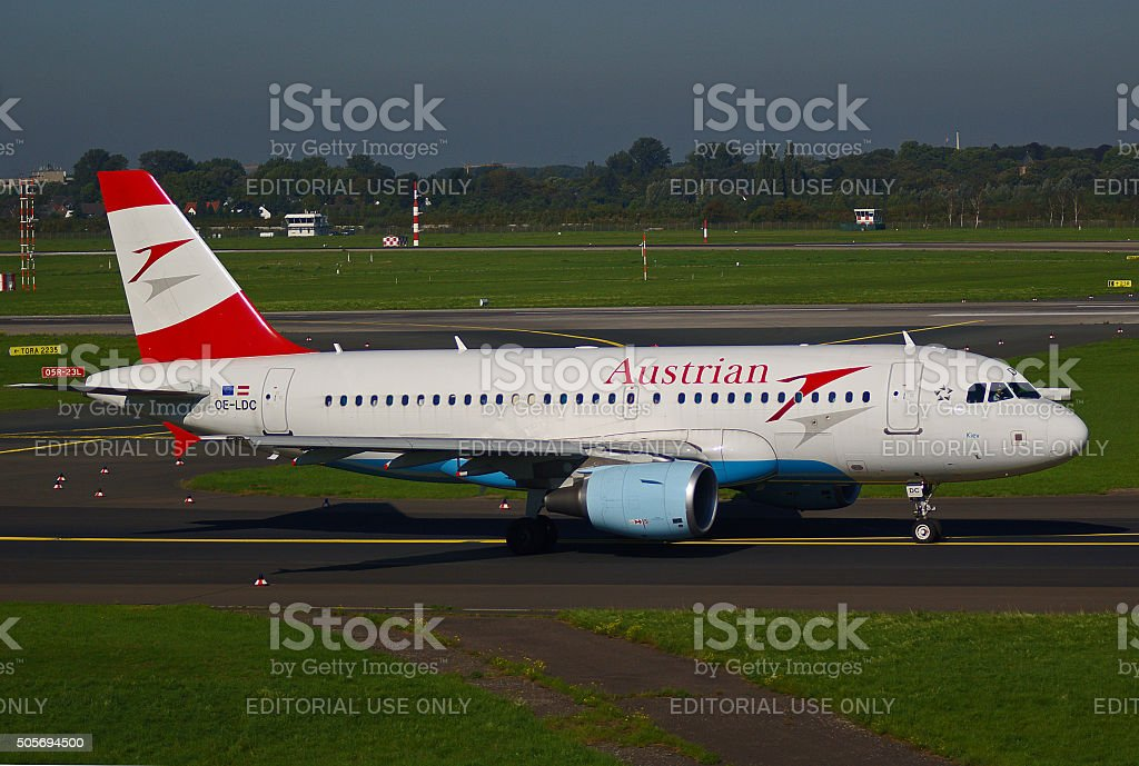 """Airbus A319-100 of Austrian Airlines """"Kiev"""" stock photo"""