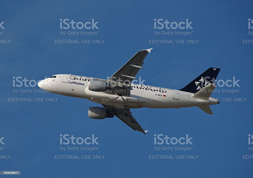 Airbus A319-100 of Deutsche Lufthansa while take-off stock photo