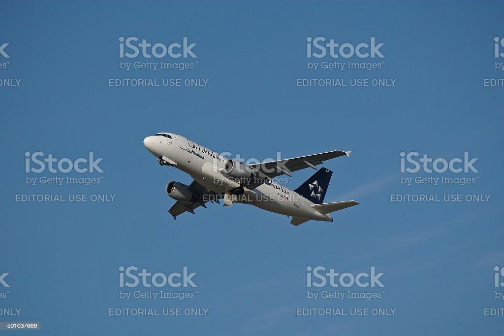 Airbus A319-100 of Lufthansa while take-off stock photo