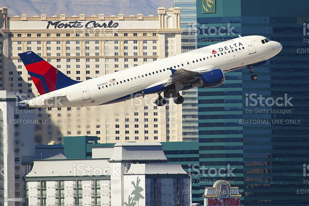Airbus A320 Delta Air Lines takes off from McCarran Airport stock photo