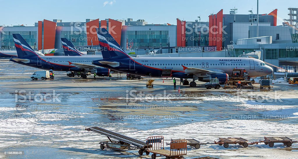 Airbus A320 of Aeroflot at the airport Sheremetyevo stock photo