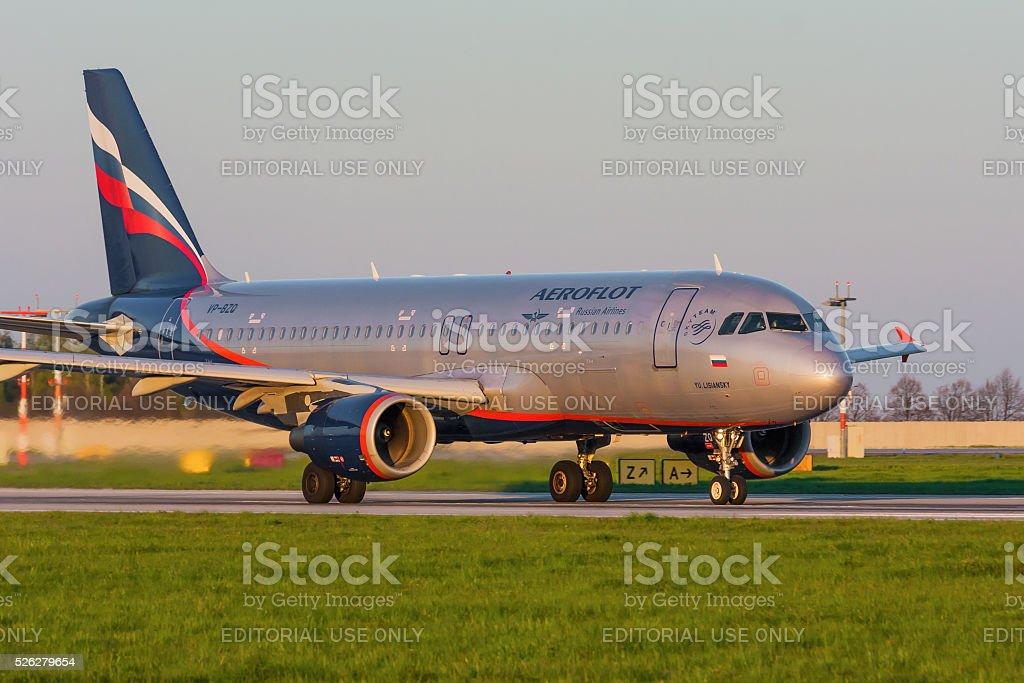 Airbus A320 of Aeroflot stock photo