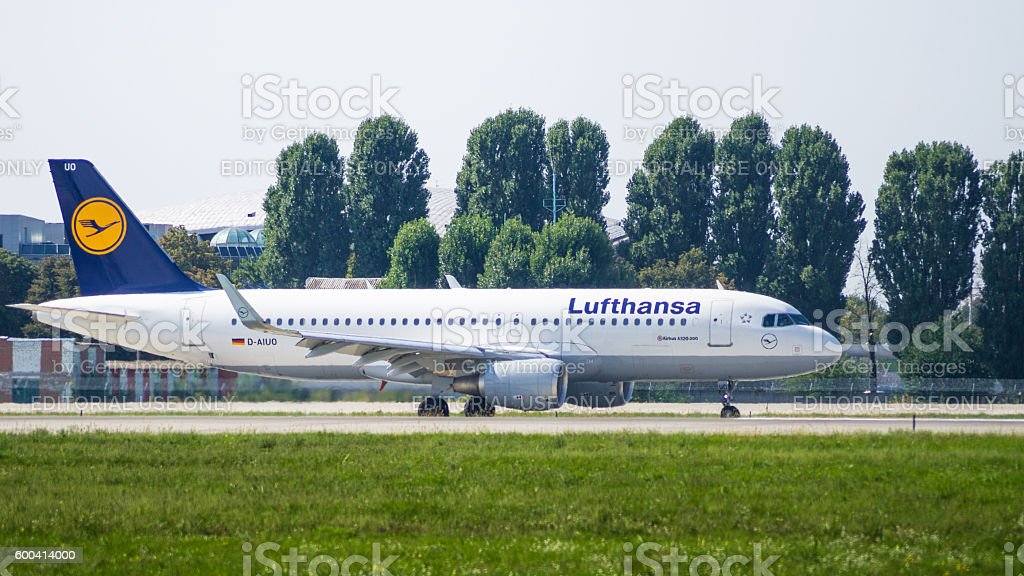 Airbus A320 side view stock photo